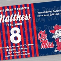 PRINTED - Ole Miss Rebels Custom Birthday Party Invitations - Personalized 5x7 or 4x6 Invitations! Colonel Rebel - University of Mississippi