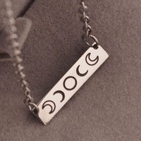 Stainless Steel Moon Phase Necklace Bar Pendant Jewelry