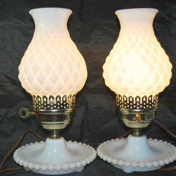 Set of Milk Glass and Brass Lamps , Bedside or Table Lamps , Working and Electric