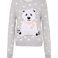 Grey Polka Dot Polar Bear Christmas Jumper
