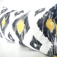 Black and Gold Yellow Pillow Cover, Geometric Lumbar Pillow, Designer Pillow, Black and White Lumbar Throw Pillow , 12x22 inch or 18 inch