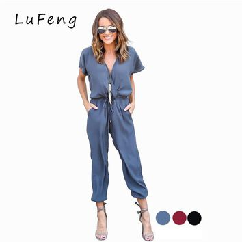 Jumpsuit Long  Rompers Womens Jumpsuit One Piece Overall Salopette  Feminino Dungarees 2 Piece Coveralls DCJ-16613
