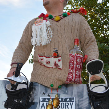 liquor and shot glass holder, Men's Ugly Christmas Sweater, redneck, XL, crotch ornaments, alcohol, santa, party sweater, novelty item, bird