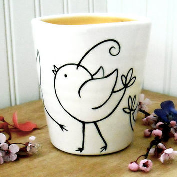 Bird Cup Vase PEEP Wheel Thrown Painted Pottery by LoveArtWorks