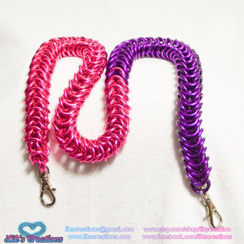 "Duo Tone Pink & Violet Box Wallet chain 16.5"" long"