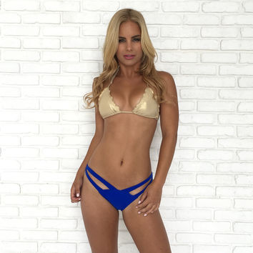 Double Cross Over Bikini Bottoms In Royal Blue