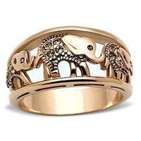 Stainless Steel Rose Gold IP Crystal Lucky Elephant Ring Band Size 5 - 10