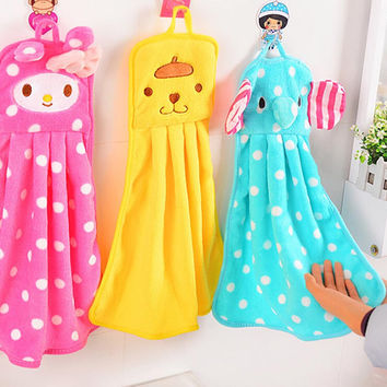 1 Piece Super Soft Flannel Kids Hand Towel Colorful Cute Cartoon Hanging Hand Towel Both for Kitchen and Bathroom
