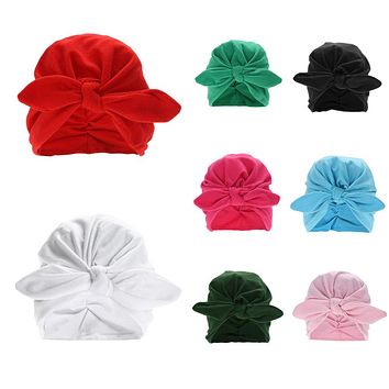 Baby Hat Toddler Kids Winter Warm Cotton Soft Turban Knot Hat Rabbit Ears Stretchable Cap