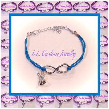 Turquoise Infinity Satin Cord Bracelet with a Charm of your choice - Cheerleader, Fleur De Lis. Tree of Life and Many More