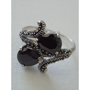 Sterling Silver Ring w/2 Faceted Pear Hematite Stones Marcasite Accents