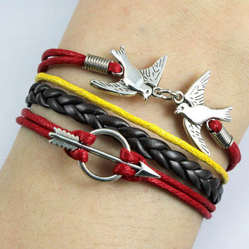 Bracelet-THE HUNGER GAMES bracelet,silver birds bracelet,arrow bracelet