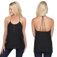 Three String Blouse Tank In Black