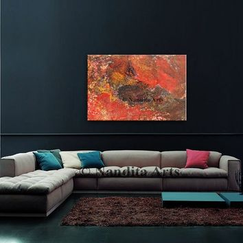 "Red Abstract Painting on Canvas by Nandita Albright, Oil Painting,  original artwork, large Painting, Office Decor, 36""x24""(91.44cmx60.96cm)"
