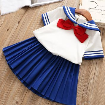 Girls Sets Clothing 2018 Fashion 2pcs Children Clothes Kids Suit Cosplay Sailor Moon Costume Top+Pleated Skirt School Uniform
