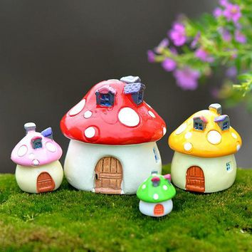 Miniature Fairy Garden Mushroom House Landscape Ornament Outdoor Decor Craft