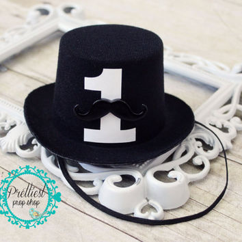 Boy First Birthday Cake Smash Mini Top Hat, Mustache, Black Mini Top Hat, Photo Prop