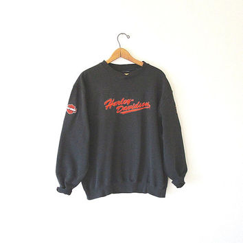 Vintage 90's HARLEY DAVIDSON MOTORCYCLES Embroidered Biker Pullover Sweatshirt Sz Medium
