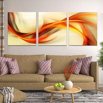 3 Pieces Ribbon Square Abstract Wall Art Canvas Panel Print