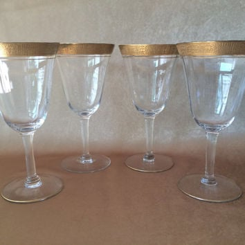 Gold Trim Wine Glass, Tiffin Franciscan, Tiffin Minton, Optic Crystal, Water or Wine, Vintage Crystal Wine, Wedding Glassware, Gold Rimmed