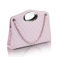 Designer Inspired Top Handle Tote Purse / Chain Single Shoulder Purse - Light Pink