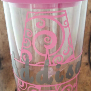 Acrylic Wine Tumbler lid, personalized wine to go cup, wine sipper, monogram, decal, wine2go, vino2go, bridesmaids, beach, bachelorette