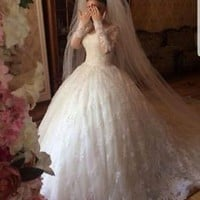 Long Sleeves Lace Wedding Dress Winter Bridal Dress Custom Size 0 2 4 6 8 10 12