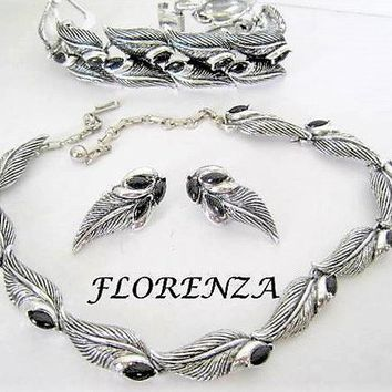 Florenza Jewelry, Bracelet Necklace Earrings,  Black Stones,  Demi Parure, Antiqued Silver Tone, Bracelet and Earrings