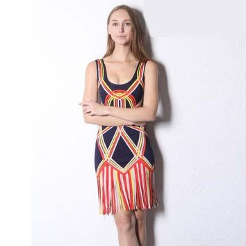 2016 new motier sleeveless geometric pattern evening dress fringed short