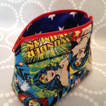 Superhero Make Up Bag / Pencil Case using Wonder Woman Fabric. Fully Lined!