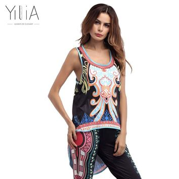 Yilia Tank Tops Women Summer 2017 Irregular Long Fashion African Print Dashiki Sleeveless Pullover O Neck Top Loose Sexy Fitness