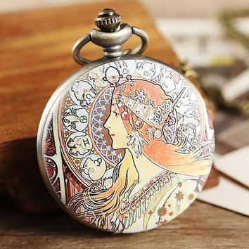 Retro Colorful Painted Women Pocket Watch Women Men Necklace Pendant Lady Gifts Unique Steampunk Quartz Pocket Watches FOB Chain