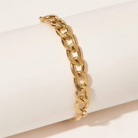 Rhinestone Detail Adjustable Chain Bracelet 1pc
