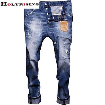 High Quality Famous Leather pocket Newly fashion jeans jeans,slim straight fit pants men