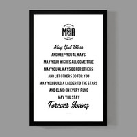 Art print home decor - Forever Young Quote Poster - Distressed Typographic Print - Bob Dylan