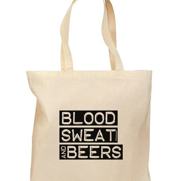 Blood Sweat and Beers Design Grocery Tote Bag by TooLoud