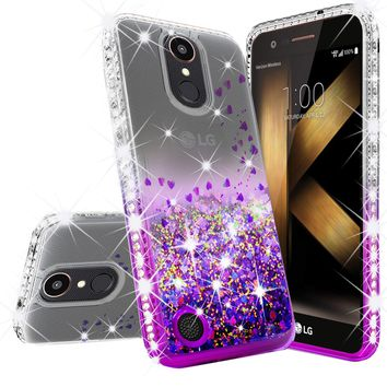 LG K20 Plus Case, LG K20 V, K10 2017, LG Harmony Case Liquid Glitter Phone Case Waterfall Floating Quicksand Bling Sparkle Cute Protective Girls Women Cover for K20 Plus/K20 V/K10 2017/Harmony - Purple