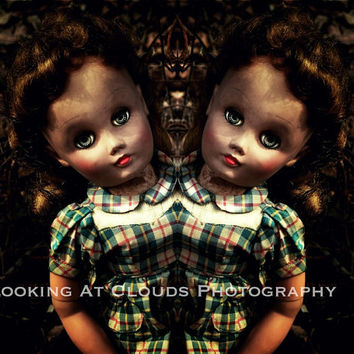 creepy doll twins, surreal spooky old dolls, macabre doll art photo, sinister sisters, symmetry, siamese twins, haunting, mirror image