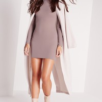 Missguided - Roll Neck Long Sleeve Ribbed Dress Mauve