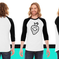 happy strawberry 1c American Apparel Unisex 3/4 Sleeve T-Shirt