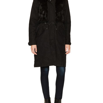 Andrew Marc x Richard Chai Women's Jade Cotton Hooded Jacket with Fur Trim