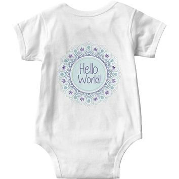 Boho Baby Onsie Hello World Mandala Baby Shirt Onsie Custom Designs Personalized Designs Just Ask