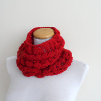 Red Cowl, chunky,  Neckwarmer, scarf, infinity...