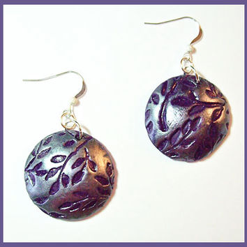 Polymer Clay Earrings Leaf Design Purple/Violet and Silver 1 1/4 in. Sterling Earwires