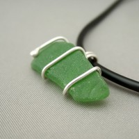 Green Sea Glass and Sterling Silver Pendant. Small Glass and Wire Necklace. | The Silver Forge Handcrafted Jewellery