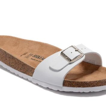 Birkenstock Summer Fashion Leather Cork Flats Beach Lovers Slippers All White Casual Sandals For Women Men Couples Slippers