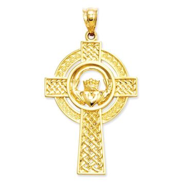14k Yellow or White Gold Celtic Claddagh Cross Pendant