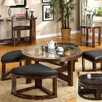A.M.B. Furniture & Design :: Living room furniture :: Coffee table sets :: Crystal Cove II Dark Walnut Wood Finish Coffee Glass Top Table w/ Wedge Shaped Ottomans