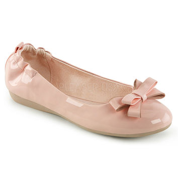Pin Up Couture Olive Baby Pink Patent Ballet Flats