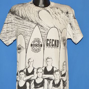 90s Gecko All Over Print Surfboard Surfing t-shirt Medium